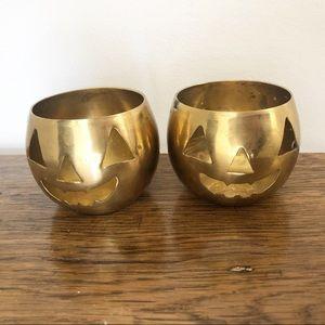 Vintage Brass Pumpkin Halloween Candle Holder Set